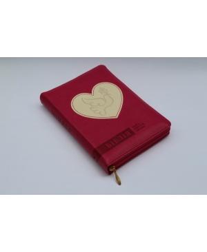 Біблія Огієнка, 13х18 см, шкірзамінник, на замочку, індекси, серце біле