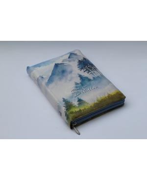 Біблія Огієнка, 15х20 см, шкірзамінник, на замочку, індекси, гори