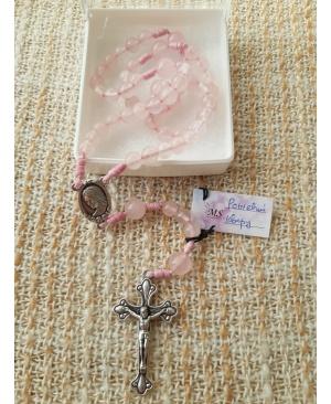 Вервиця з дорогоцінного каменю (Рожевий кварц)