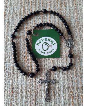 Вервиця з дорогоцінного каменю (Агат чорний)